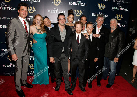"From left, actors Blake Rayne, Erin Cottrell, Joe Pantoliano, director Dustin Marcellino, Seth Green, Amanda Crew, Waylon Payne, Noah Urrea, Ray Liotta and producer Yochanan Marcellino attend the premiere of ""The Identical"" on in New York"