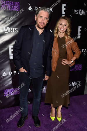 "Comedian Craig Ferguson and his wife Megan pose together at P.S. Arts' ""the pARTy!"" at Neuehouse, in Los Angeles"