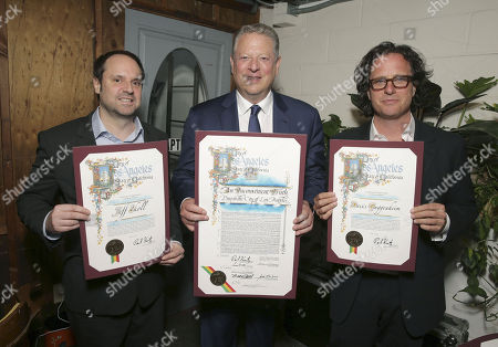 "Founder & Chairman - Participant Media and Exec. Producer Jeff Skoll, Former Vice President Al Gore and Exec. Producer/Director Davis Guggenheim seen at Participant Media 10 Year Anniversary Celebration of ""An Inconvenient Truth"", in Los Angeles, CA"