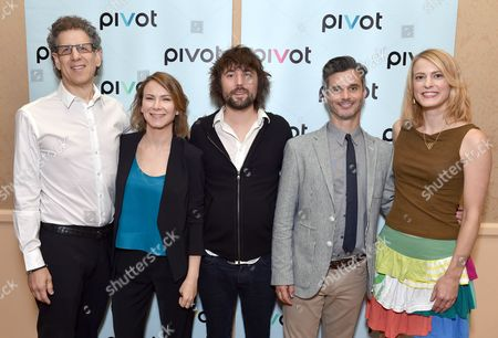 Jim Berk, CEO of Participant Media, and from left, Belisa Balaban, EVP, original programming, Pivot, Tom Szaky, TerraCycle Founder/CEO of 'Human Resources,' Pivot President Evan Shapiro and Tiffany Threadgould, TerraCycle chief design junkie of 'Human Resources' pose backstage at the Pivot panel during the Summer TCAs, in Beverly Hills, Calif