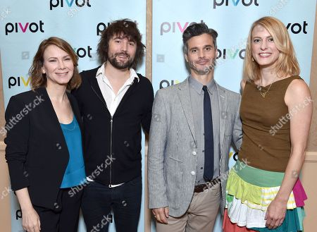 Belisa Balaban, EVP, original programming, Pivot, and from left, Tom Szaky, TerraCycle Founder/CEO of 'Human Resources,' Pivot President Evan Shapiro and Tiffany Threadgould, TerraCycle chief design junkie of 'Human Resources' pose backstage at the Pivot panel during the Summer TCAs, in Beverly Hills, Calif