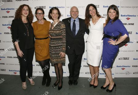 "From left, Kristi Jacobson, Christina Grdovic, Dana Cowin, Tom Colicchio, Lori Silverbush and Gail Simmons attend a screening of ""A Place at the Table"" presented by Bank of America and The Cinema Society, at the Museum of Modern Art in New York"