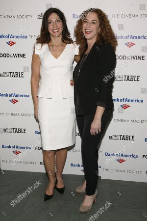"Directors Lori Silverbush, left, and Kristi Jacobson, right, attend a screening of ""A Place at the Table"" presented by Bank of America and The Cinema Society, at the Museum of Modern Art in New York"