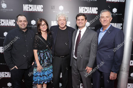 """Stock Image of Jean McDowell, SVP of Marketing and Research, Lionsgate, Eda Kowan, EVP, Acquisitions & Co-Productions, Lionsgate, Executive Producer Avi Lerner, Jason Constantine, President of Acquisitions and Co-Productions, Lionsgate Motion Picture Group, and Steve Beeks, Co-Chief Operating Officer and Co-President, Lionsgate Motion Picture Group, seen at Los Angeles Premiere of """"Mechanic: Resurrection"""" from Lionsgate's Summit Premiere Label at ArcLight Hollywood, in Los Angeles"""