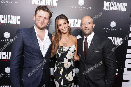 """Director Dennis Gansel, Jessica Alba and Jason Statham seen at Los Angeles Premiere of """"Mechanic: Resurrection"""" from Lionsgate's Summit Premiere Label at ArcLight Hollywood, in Los Angeles"""