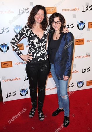 """Jamie Babbit, left, and Karey Dornetto arrive at the """"Portlandia"""" season 5 premiere presented by Bulleit Bourbon at The Ace Hotel Downtown Los Angeles on"""