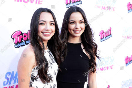 """Niki Demartino and Gabi Demartino seen at the Los Angeles Premiere of AwesomenessTV and Defy Media's """"SMOSH: THE MOVIE"""" held at Westwood Village Theatre, in Los Angeles"""