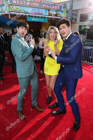 Ian Hecox, Grace Helbig and Anthony Padilla seen at the Los Angeles Premiere of AwesomenessTV and Defy Media's 'SMOSH: THE MOVIE' held at Westwood Village Theatre, in Los Angeles