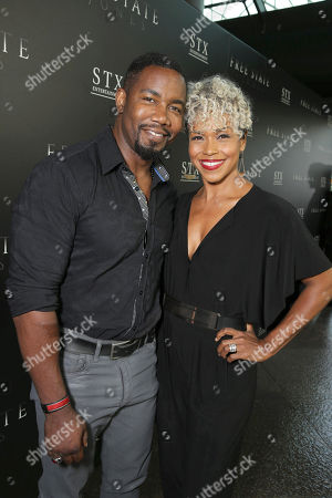 """Michael Jai White and Gillian Iliana Waters seen at Los Angeles Premiere of STX Entertainment """"Free State of Jones"""" at DGA Theater, in Los Angeles"""