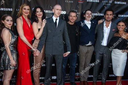 From left, Melanie Zanetti, Brenda Strong, Bridget Regan,Jason Mann, Matt Damon, Tom Bell, Ed Weeks and Christine Lakin attend The Project Greenlight Season 4 premiere of 'The Leisure Class' at The Theatre At The Ace Hotel on in Los Angeles
