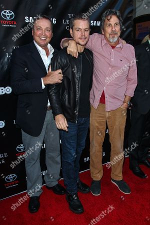 Stock Picture of From left, Bobby Farrelly, Matt Damon, and Peter Farrelly attend The Project Greenlight Season 4 premiere of 'The Leisure Class' at The Theatre At The Ace Hotel on in Los Angeles