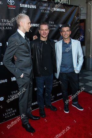 From left, Jason Mann, Matt Damon, and Marc Joubert attend The Project Greenlight Season 4 premiere of 'The Leisure Class' at The Theatre At The Ace Hotel on in Los Angeles