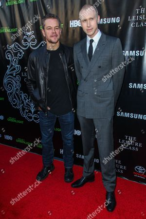 Matt Damon, left, and Jason Mann attend The Project Greenlight Season 4 premiere of 'The Leisure Class' at The Theatre At The Ace Hotel on in Los Angeles