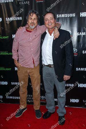 Peter Farrelly, left, and Bobby Farrelly attend The Project Greenlight Season 4 premiere of 'The Leisure Class' at The Theatre At The Ace Hotel on in Los Angeles
