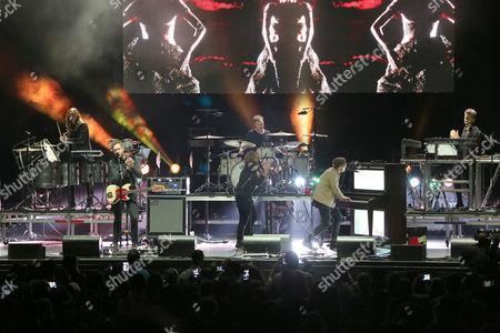 Ryan Tedder, Zach Filkins, Drew Brown, Eddie Fisher and Brent Kutzle with OneRepublic performs during the Q100 Moon Shine Grind at Verizon Wireless Amphitheatre at Encore Park, in Alpharetta
