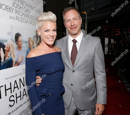 "Alecia Moore and Director/Writer Stuart Blumberg arrive on the red carpet at the Los Angeles Premiere of ""Thanks for Sharing"" at the ArcLight Cinerama Dome on in Los Angeles"