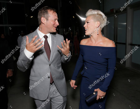 """Director/Writer Stuart Blumberg and Alecia Moore arrive on the red carpet at the Los Angeles Premiere of """"Thanks for Sharing"""" at the ArcLight Cinerama Dome on in Los Angeles"""