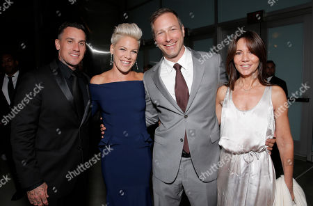 "Carey Hart, Alecia Moore, Director/Writer Stuart Blumberg and Producer Leslie Urdang arrive on the red carpet at the Los Angeles Premiere of ""Thanks for Sharing"" at the ArcLight Cinerama Dome on in Los Angeles"
