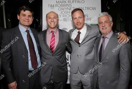"Stock Image of Jason Constantine, Roadside Attractions Co-President Howard Cohen, Director/Writer Stuart Blumberg and Co-Chairman of Lionsgate Motion Picture Group Rob Friedman arrive on the red carpet at the Los Angeles Premiere of ""Thanks for Sharing"" at the ArcLight Cinerama Dome on in Los Angeles"