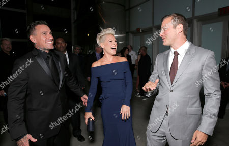 "Carey Hart, Alecia Moore and Director/Writer Stuart Blumberg arrive on the red carpet at the Los Angeles Premiere of ""Thanks for Sharing"" at the ArcLight Cinerama Dome on in Los Angeles"
