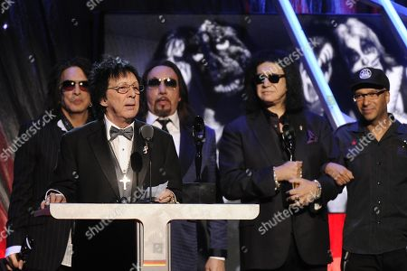 Hall of Fame Inductees, KISS, Paul Stanley, Peter Criss, Gene Simmons, Ace Frehley, and Tom Morello speak at the 2014 Rock and Roll Hall of Fame Induction Ceremony on Thursday, April, 10, 2014 in New York