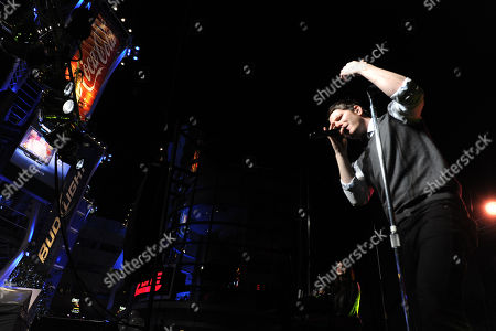 Stock Image of Adam Young, of Owl City performs at Rock The Red Kettle to benefit The Salvation Army, part of AEG's Season Of Giving at L.A. LIVE,, at LA Live in Los Angeles