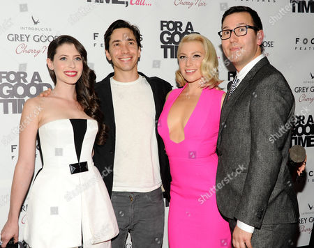 """Stock Image of Actress, writer and producer Lauren Anne Miller, left, actor Justin Long, actress Ari Graynor and director Jamie Travis attend a special screening of """"For A Good Time Call"""" at Regal Union Square Theaters on in New York"""