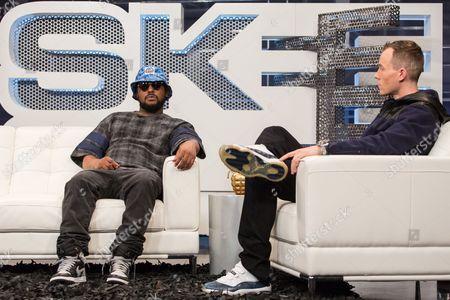 Schoolboy Q (L) and host DJ Skee on set during filming of SKEE Live during filming of SKEE Live on in Los Angeles
