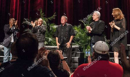 Actors, from left to right, Levar Burton, Patrick Stewart, William Shatner, Brent Spiner and Gates McFadden during the Star Trek: The Next Generation Reunion Event at the Rosemont Theatre in Rosemont, IL on