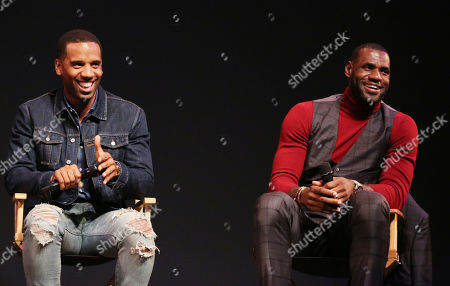 """Stock Picture of IMAGE DISTRIBUTED FOR STARZ ENTERTAINMENT - LeBron James, right, and Maverick Carter participate in a Q and A after the premiere of the STARZ original series """"Survivor's Remorse"""" on in Los Angeles. """"Survivor's Remorse"""" premieres Saturday, Oct. 4 exclusively on STARZ"""