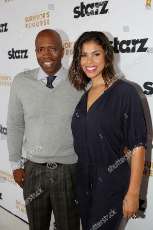 """Kenny Smith, left, and Gwendolyn Osborne arrive at the premiere of the STARZ original series """"Survivorâ?™s Remorse"""" on in Los Angeles. """"Survivorâ?™s Remorse"""" premieres Saturday, Oct. 4 exclusively on STARZ"""