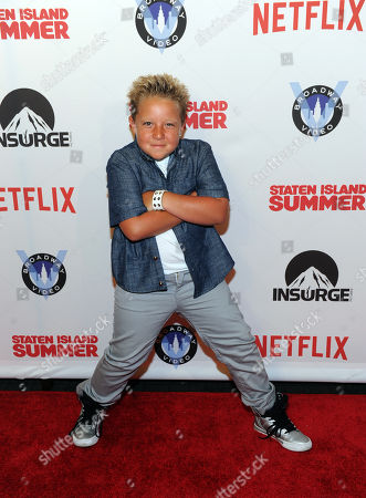 Stock Image of Actor Jackson Nicoll poses on the red carpet at the premiere of the movie Staten Island Summer at Sunshine Cinema, in New York. The new comedy debuts on Netflix on July 30, 2015 and is available for Digital download