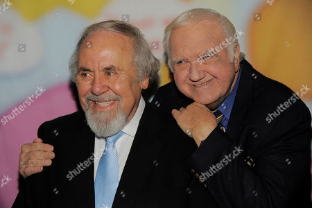 "Stock Picture of George Schlatter, left, poses with Chuck McCann at ""Still Laugh In: A Toast to George Schlatter,"" at the Saban Theatre on in Beverly Hills, Calif"