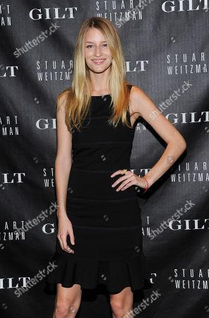 """Model Linda Vojtova attends the Stuart Weitzman & Gilt digital pop-up shop event to celebrate the 20th anniversary of """"5050 Boot"""" at Neuhouse on in New York"""