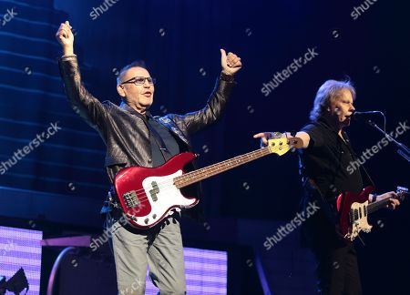 """Stock Picture of Chuck Panozzo, left, and James """"J.Y."""" Young of the band Styx perform in concert at the American Music Theater, in Lancaster, Pa"""