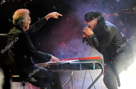 Stock Picture of Marily Manson, right, is joined by Ray Manzarek of The Doors during his headlining performance at the Sunset Strip Music Festival, in West Hollywood, Calif