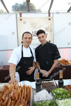 """Stock Picture of Chef Susur Lee, left, is seen at The Breeders' Cup """"A Taste of the World"""" event at the Huntington Library,, in San Marino Calif"""