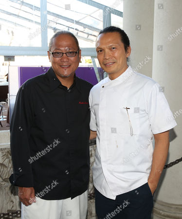 """Stock Photo of Chefs Masaharu Morimoto, left, and Susur Lee are seen at The Breeders' Cup """"A Taste of the World"""" event at the Huntington Library,, in San Marino Calif"""