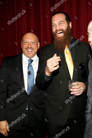 Interactive Media Peer Group Governor Seth R. Shapiro, left talks with Harley Morenstein, center and Nice Peter, right, at the Television Academy's 66th Emmy Interactive Media Nominee Reception at the Television Academy on in the NoHo Arts District in Los Angeles