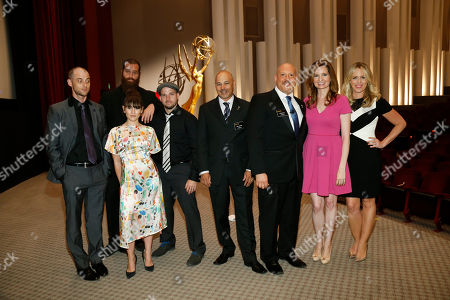 From left to right, Nice Peter, Harley Morenstein, Yael Stone, EpicLLOYD, Interactive Media Peer Group Governors Marc Johnson and Seth R. Shapiro, Lennon Parham and Jessica St. Clair pose together at the Television Academy's 66th Emmy Interactive Media Nominee Reception at the Television Academy on in the NoHo Arts District in Los Angeles