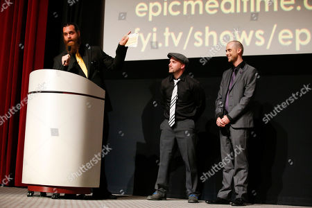 Stock Image of Harley Morenstein, EpicLLOYD and Nice Peter speak on stage at the Television Academy's 66th Emmy Interactive Media Nominee Reception at the Television Academy on in the NoHo Arts District in Los Angeles
