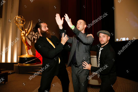 Harley Morenstein, left, Nice Peter, center, and EpicLLOYD, right, pose at the Television Academy's 66th Emmy Interactive Media Nominee Reception at the Television Academy on in the NoHo Arts District in Los Angeles
