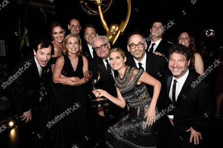 """Stock Photo of Rob Huebel, from left, Erinn Hayes, Zandy Hartig, Krister Johnson, Keith Crofford, Lake Bell, Davis Wain, Ken Morino, Jonathan Stern, and team, winners of the award for for outstanding short form comedy or drama series for """"Children's Hospital"""" attend night two of the Television Academy's 2016 Creative Arts Emmy Awards at the Microsoft Theater on in Los Angeles"""