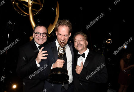 Joe Celli, from left, David Korins, and Jason Howard winners of the award for outstanding production design for a variety, nonfiction, event or award special for Grease: Live attend night two of the Television Academy's 2016 Creative Arts Emmy Awards at the Microsoft Theater on in Los Angeles