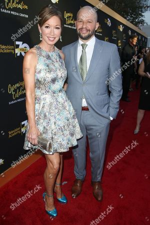 Lisa Joyner, left, and Jon Cryer arrive at the Television Academy's 70th Anniversary at The Television Academy, in Los Angeles