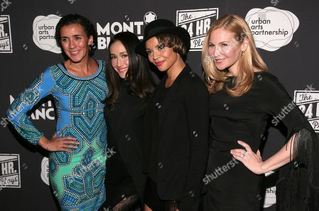 From left, director Patricia McGregor and actress Maggie Q, Carmen Ejogo and Jennifer Westfeldt attend the 24 Hour Plays on Broadway after party on in New York