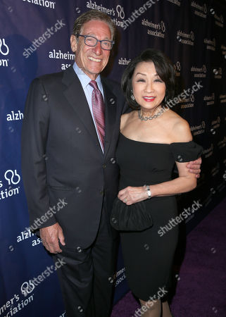"""Maury Povich and Connie Chung arrive at the 24th annual Alzheimer's Association """"A Night at Sardi's"""" at the Beverly Hilton hotel, in Beverly Hills, Calif"""