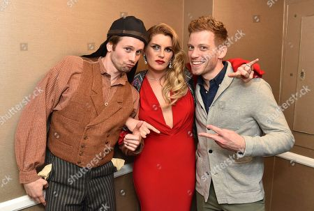 "Tyler Ritter, from left, Grace Potter and Barrett Foa pose backstage at the 24th annual Alzheimer's Association ""A Night at Sardi's"" at the Beverly Hilton hotel, in Beverly Hills, Calif"