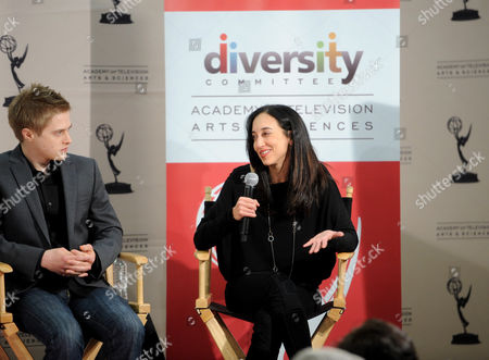 """FEBRUARY 15: Actor Lucas Grabeel (L) and executive producer Lizzy Weiss participate in The Academy of Television Arts & Sciences Diversity Committee and ABC Family Present """"Switched At Birth"""" Panel Discussion on in North Hollywood, California"""