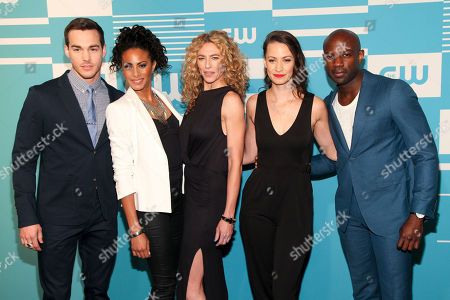 Stock Photo of Chris Wood, from left, Christina Moses, Claudia Black, Kristen Gutoskie and David Gyasi attend The CW Network 2015 Programming Upfront Presentation at The London Hotel, in New York